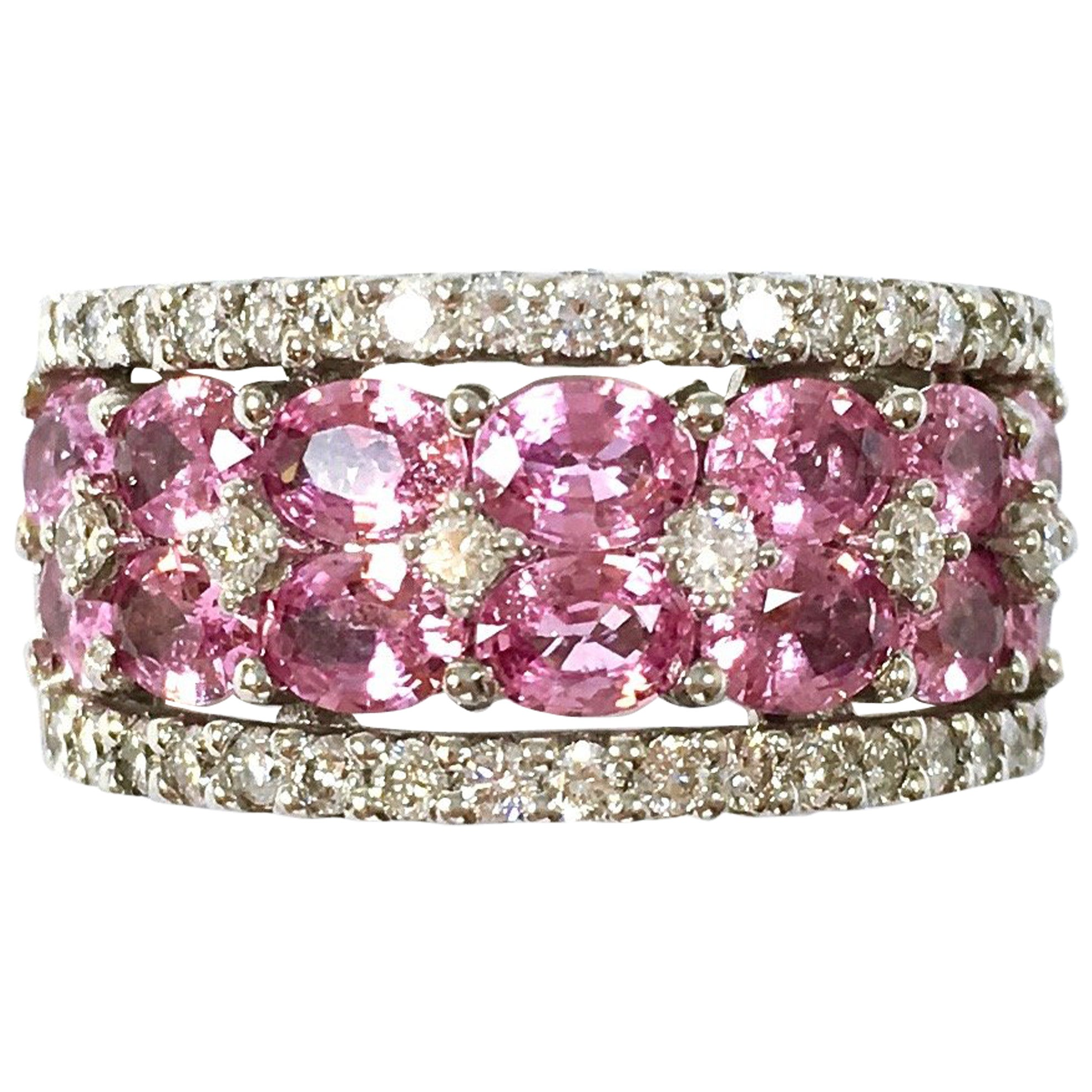 Wide Pink Sapphire and Diamond Gold Band Ring at 1stdibs