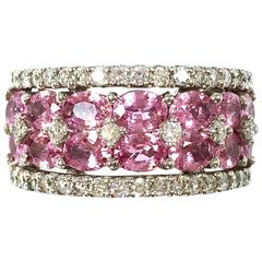 Wide Pink Sapphire and Diamond Gold Band Ring