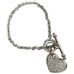 Pave Diamond Gold Heart Charm Toggle Bracelet