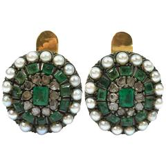 Antique Emerald Pearl and Rose Cut Diamonds Silver and Gold Earrings