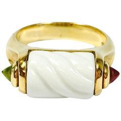Bulgari White Ceramic Rondell Tourmaline Gold Ring