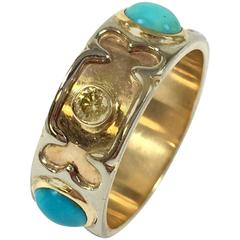 Unique Turquoise Diamond Gold Band Ring