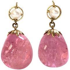 Large Pink Tourmaline Pearl Gold Dangle Earrings
