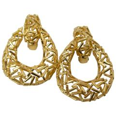 70's Modernist   Creole Style Gold Earrings