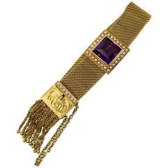 Antique Amethyst Pearl Mesh Tassel Gold Bracelet