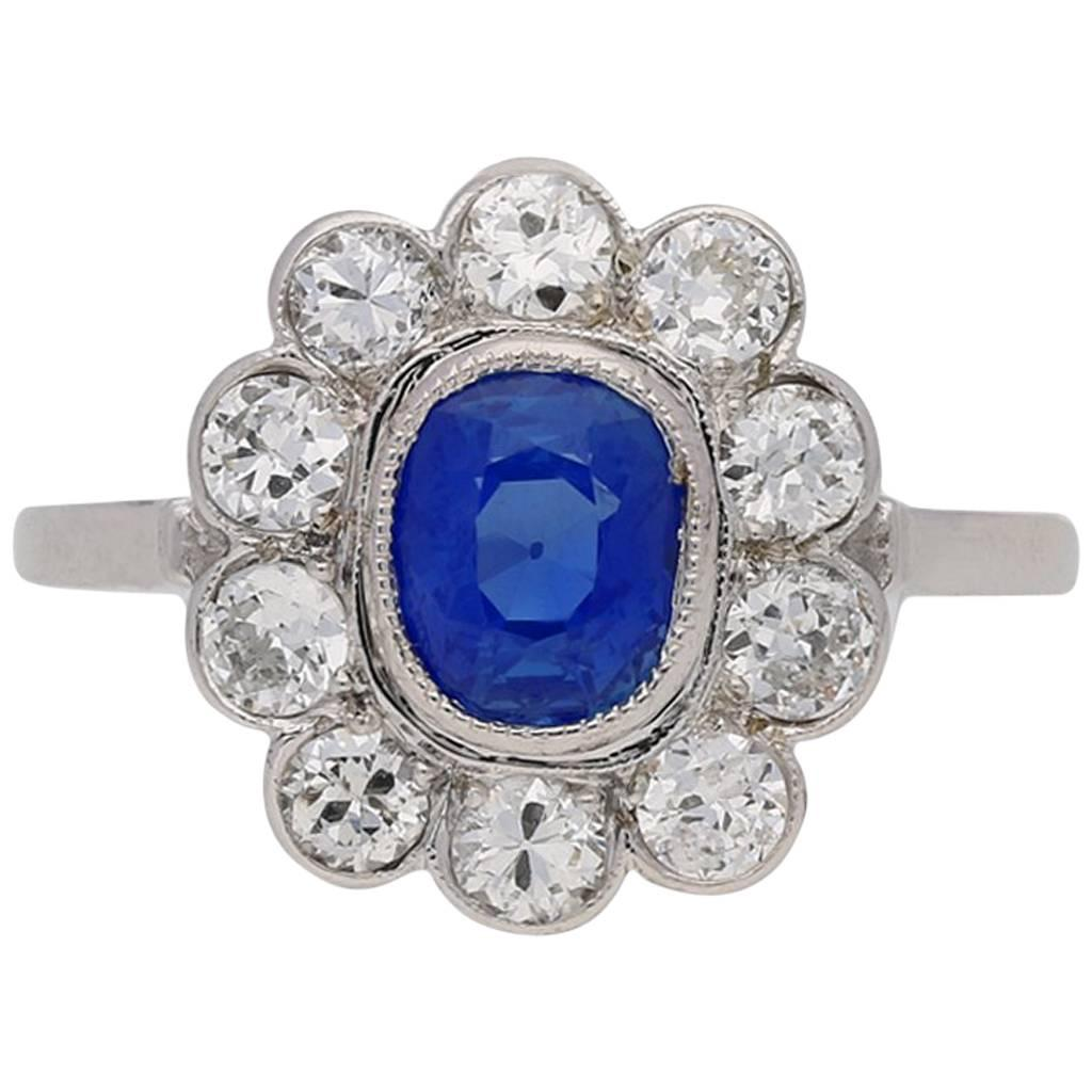 1930s English Art Deco Kashmir sapphire diamond cluster ring