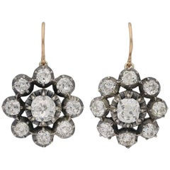 Antique Victorian diamond cluster pendant earrings