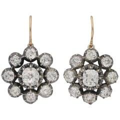 Antique Victorian diamond cluster pendant earrings
