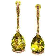 Lemon Quartz Pink Sapphires Gold Swan Drop Earrings Handmade By Alex Soldier