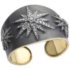 Diamond Star Cuff Bangle Bracelet