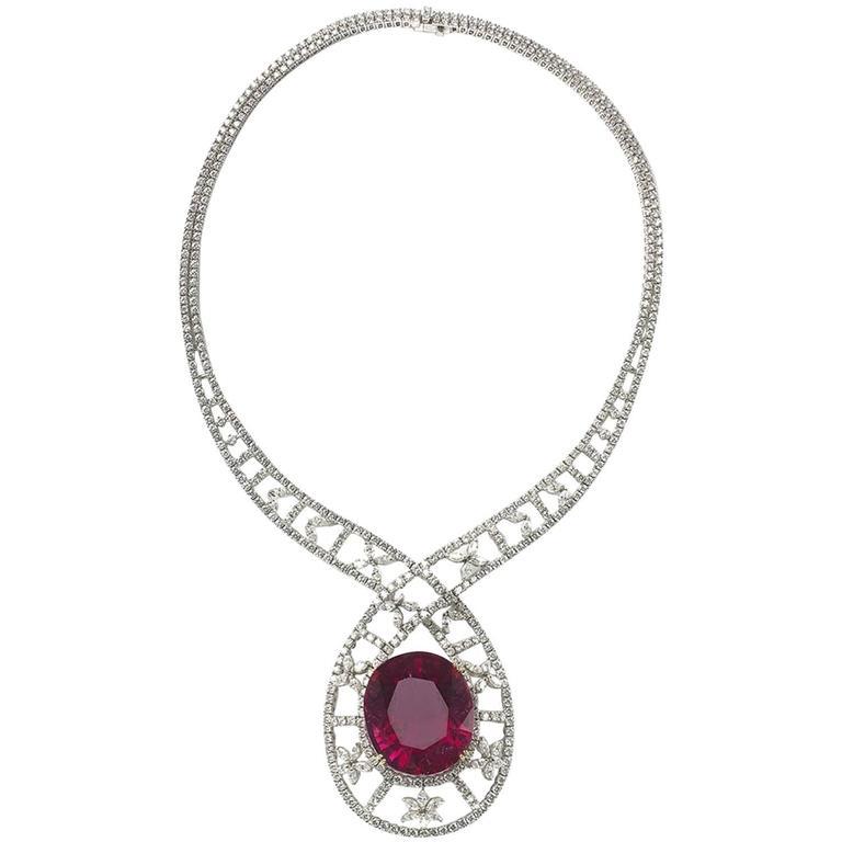 Pink Tourmaline Diamond gold Necklace