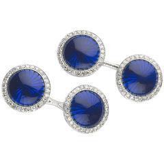 Bulgari Enamel Diamond gold Cufflinks