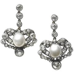 1880s Victorian Antique Pearl Diamond silver-upon-gold Earrings