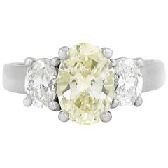 2.07 Carat Fancy Light Yellow Diamond Platinum Ring