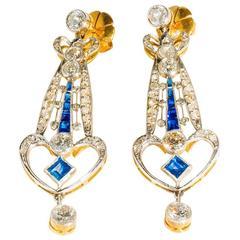 1920s Art Deco Sapphire Diamond Gold Platinum Drop Earrings