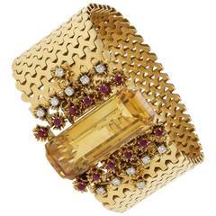 1960s Luise Rubies Diamonds Topaz Gold Bracelet Brooch