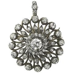 1890s Antique Diamond Circular Cluster Brooch Pendant