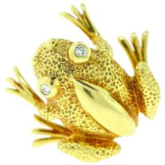 Tiffany & Co. Yellow Gold Frog Pin with Diamond Eyes