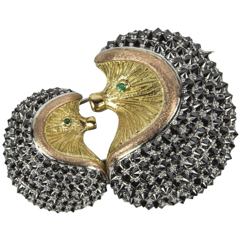 Mother and Baby Hedgehog Black Diamond Gold Statement Brooch Pin