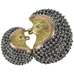 Mother and Baby Hedgehog Black Diamond Gold Brooch Pin Estate Fine Jewelry