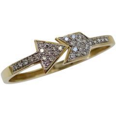 Hammerman Bros Diamond and Gold Arrow Bangle Bracelet Circa 1970