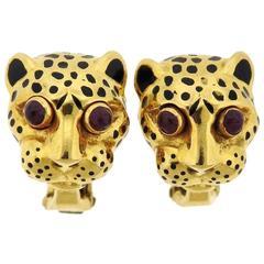 David Webb Ruby Enamel Gold Leopard Earrings