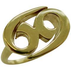 1970s Cartier Gold Zodiac Ring Cancer