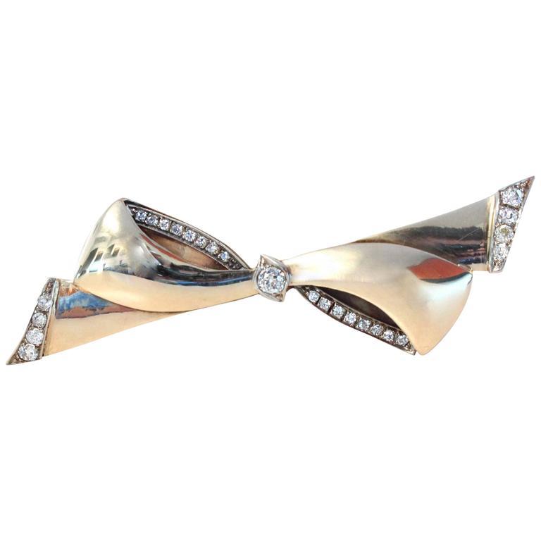1940s Cartier Diamond Gold Bow Brooch
