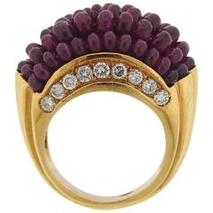 Ruby Diamond Gold Dome Ring