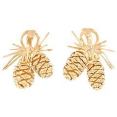 Charming Gold Pinecone Fifties Earrings