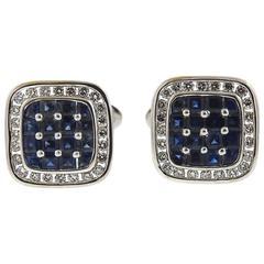 Sapphire Diamond Gold Square Cufflinks