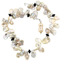 "Gemjunky BoHo Chic Spectacular 22"" Flowers of Keshi Cream/White Pearl Necklace"