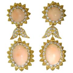1960s Long Coral Diamond Gold Earrings