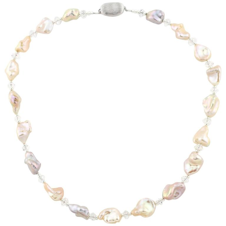 Peanut Baroque Pearls quartz sterling silver Necklace