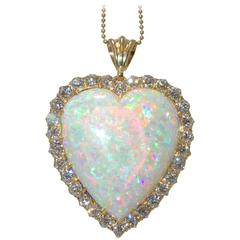 30 Carat Opal Diamond Gold Heart Pendant