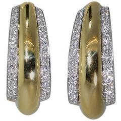David Webb Diamond Gold Platinum Earrings