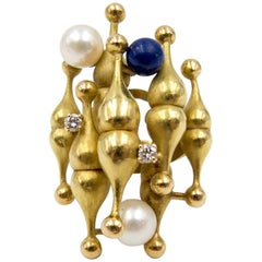 1970s Italian Lapis Pearl Diamond Gold Ali Baba Ring