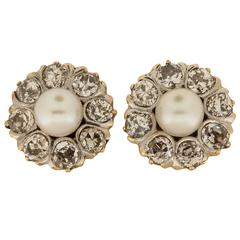 Pearl and Old European Cut Diamond Earrings in Platinum over Gold