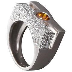 Fancy Deep Yellowish Diamond in Modern Wave Gold Ring GIA Certified 0.60 Carat