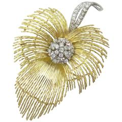1960s Italian Diamond Gold Feather Brooch