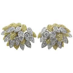 1960s Diamond Gold platinum Earrings