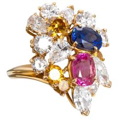 1968 Oscar Heyman Blue Pink Sapphire Diamond Gold Freeform Cluster Ring
