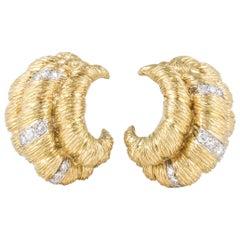 18K Yellow Gold Textured Diamond Earrings
