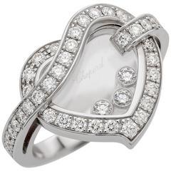 Chopard Happy Heart Diamond Ring 0.92 Carat 18 Karat White Gold