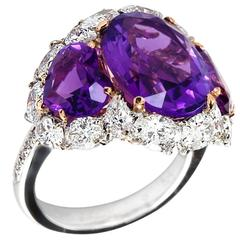 Three-Stone Oval and Heart Amethyst Ring with Surprise Marvelous Underside