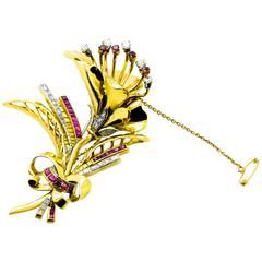 Ruby & Diamond Gold Floral Brooch