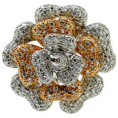White & Rose Gold Diamond Petal Ring