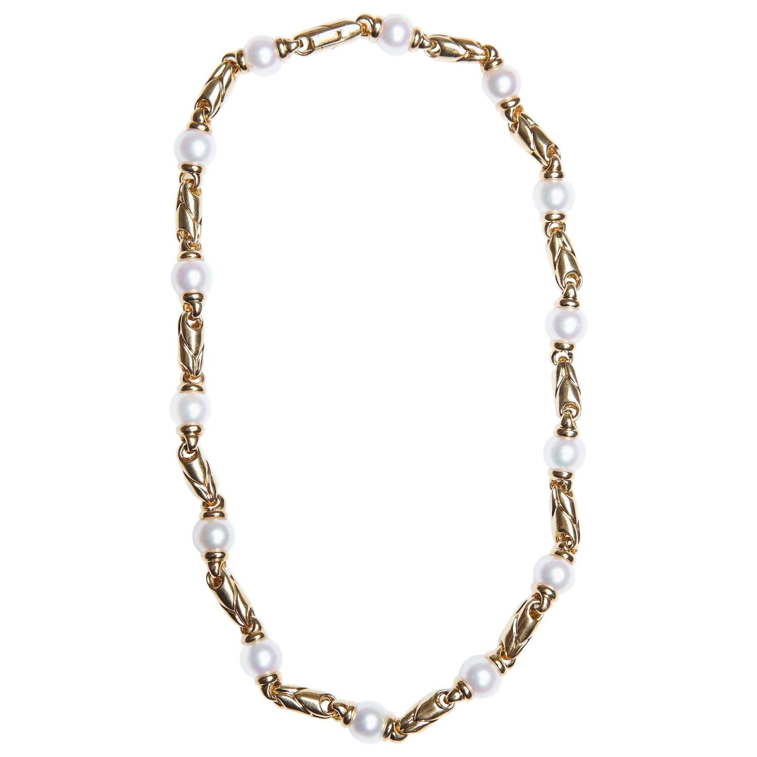 Yafa signed jewels new york ny 1stdibs page 4 - Bulgari Gold And Pearl Passo Doppio Necklace