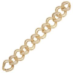Van Cleef & Arpels Textured Gold  Diamond Link Bracelet