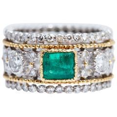 Buccellati Emerald Diamond Gold Silver Ring